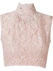 Martha Medeiros Crop Lace Blouse Pink And Purple