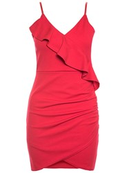 Dorothy Perkins Quiz Red Frill Ruched Detail Bodycon Dress