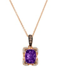Levian Chocolatier Amethyst Diamond And 14K Strawberry Gold Pendant Necklace 0.40 Tcw Rose Gold