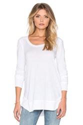 Splendid Very Light Jersey And Thermal Long Sleeve Loose Tee White