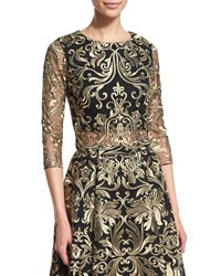 Marchesa Notte 3 4 Sleeve Embroidered Top Size 8 Black