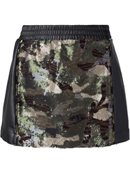 8Pm Sequined Camouflage Skirt Black
