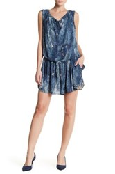 Karen Millen Dark Denim Print Drop Waist Romper Blue