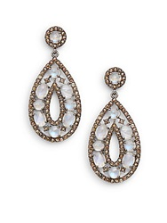 Bavna Rainbow Moonstone Champagne And Grey Diamond Teardrop Earrings Silver Multi