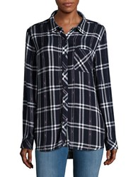 Beach Lunch Lounge Charley Plaid Flannel Shirt Blue