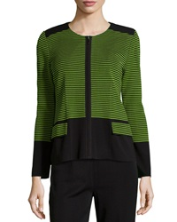 Misook Textured Stripe Jacket Black Green
