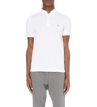 The Kooples Classic Fit Cotton Pique Polo Shirt Dark Blue White