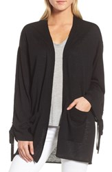 Trouve Ruched Sleeve Cardigan Black