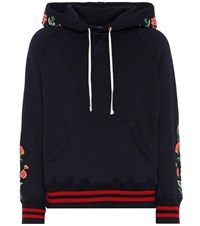 Mother The Square Embroidered Hoodie Blue