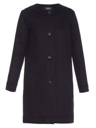 A.P.C. Hillary Collarless Cotton Twill Coat Navy