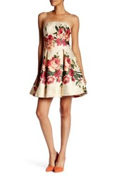 Nicole Miller New York Strapless Metallic Jacquard Fit And Flare Dress Multi
