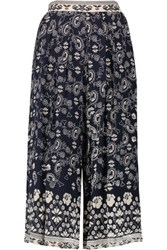 Sea Bandana Printed Crepe Wide Leg Pants Midnight Blue