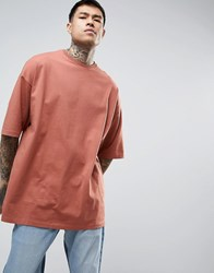 Asos Super Oversized T Shirt With Half Sleeve In Red Brick