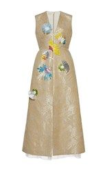 Delpozo Sleeveless V Neck Raffia Embroidered Dress White