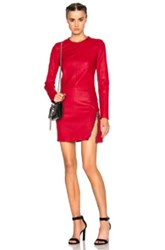 Rta Yves Leather Dress In Red