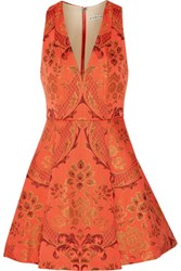 Alice Olivia Mollie Pleated Jacquard Mini Dress Bright Orange