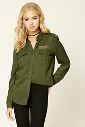 Forever 21 Military Patch Shirt Olive