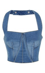 Jonathan Simkhai Denim Halter Bustier Top Blue