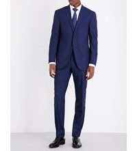 Corneliani Checked Slim Fit Wool Suit Navy