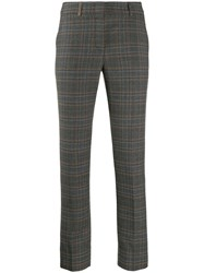 Peserico Checked Print Trousers Grey
