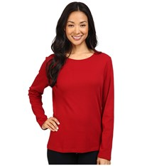 Pendleton L S Jewel Neck Cotton Rib Tee Red Rock Women's Long Sleeve Pullover