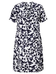 John Lewis Smudge Floral Print V Neck Dress White Blue