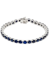 Macy's Sapphire Tennis Bracelet 17 Ct. T.W. In Sterling Silver Created For Blue
