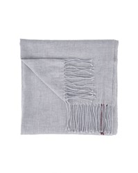 Tommy Hilfiger Grey Cotton Side Stripe Scarf