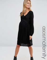 Mama Licious Mamalicious Abbey Dress With Lace Detail Black