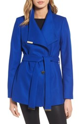 Ted Baker Women's London Wool Blend Short Wrap Coat Bright Blue