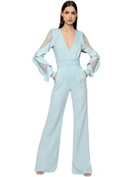 Elie Saab Ruffled Double Cady And Lace Jumpsuit