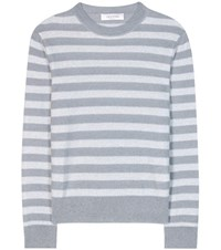 Valentino Striped Mohair And Wool Blend Sweater Grey