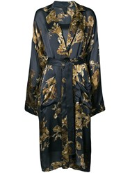 Vera Wang Ormalu Print Robe Dress Silk Grey