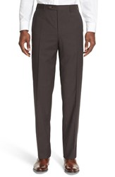 Canali Men's '13000' Regular Fit Flat Front Check Wool Trousers
