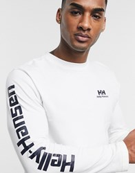 Helly Hansen Long Sleeve T Shirt In White With Arm Print