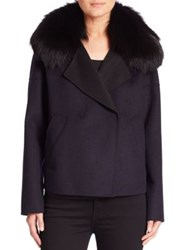 Derek Lam Fox Fur Collar Cropped Peacoat Navy Black