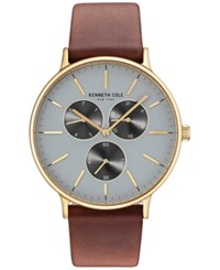 Kenneth Cole New York Men's Brown Leather Strap Watch 46Mm Kc14946003