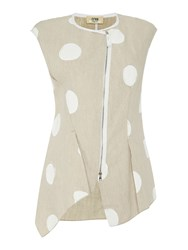 Crea Concept Zip Up Spotted Gilet Cream
