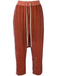 Rick Owens Drop Crotch Cropped Trousers Pink