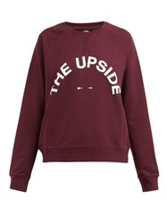 The Upside Sidi Logo Print Cotton Blend Sweatshirt Burgundy
