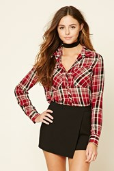 Forever 21 Snap Button Plaid Shirt