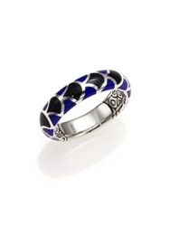 John Hardy Naga Enamel And Sterling Silver Dome Ring Silver Black