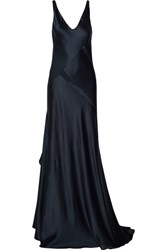 Narciso Rodriguez Paneled Silk Satin Gown Navy