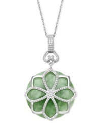 Macy's Sterling Silver Necklace Jade Flower Pendant 21 Ct. T.W.