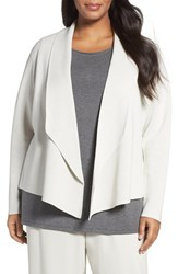 Eileen Fisher Plus Size Women's Silk And Organic Cotton Sweater Jacket Bone