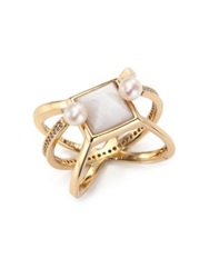 Eddie Borgo White Lace Agate 4.5Mm White Pearl And Crystal Orbit Ring Gold