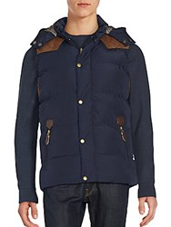 American Stitch Suede Patch Filled Jacket Navy