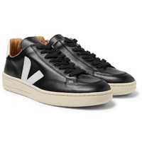 Veja V 10 Bastille Rubber Trimmed Leather Sneakers Black