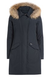 Woolrich Down Parka With Fur Trimmed Hood Blue