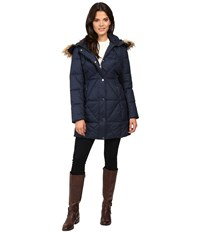 Jessica Simpson Cinched Waist Puffer W Hood And Removable Faux Fur Indigo Women's Coat Blue